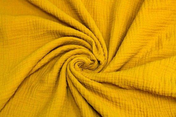 Tissu Double Gaze Moutarde -Coupon de 3 mètres