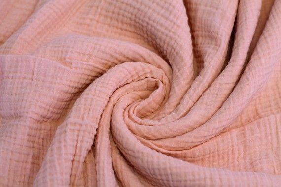 Tissu Double Gaze Saumon -Coupon de 3 mètres