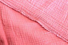 Tissu Double Gaze Corail -Coupon de 3 mètres