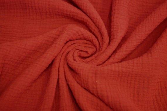 Tissu Double Gaze Rouge -Coupon de 3 mètres