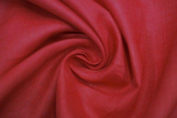 Tissu Lin Uni Rouge 100% -Au Mètre