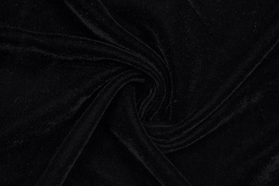 Tissu Velours Velvet Uni Noir -Au Mètre