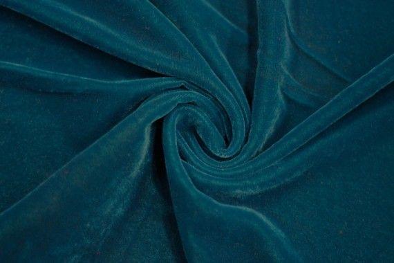 Tissu Velours Velvet Uni Bleu pétrole -Au Mètre