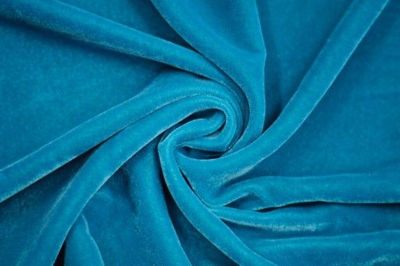 Tissu Velours Velvet Uni Turquoise -Au Mètre