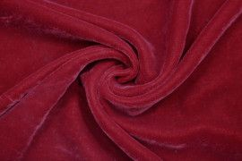Tissu Velours Velvet Uni Rouge -Au Mètre