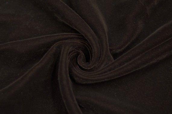Tissu Velours Velvet Uni Marron -Au Mètre