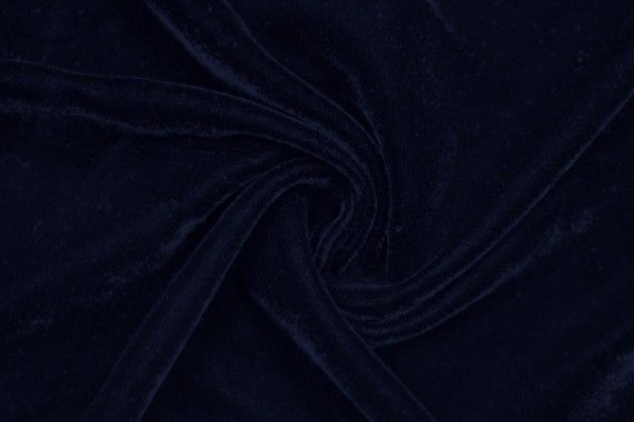 Tissu Velours Velvet Uni Marine -Coupon de 3 mètres