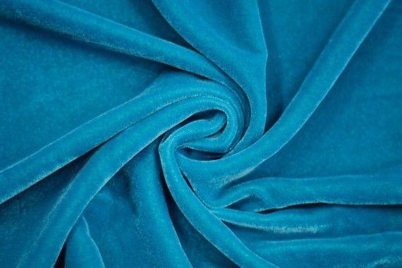 Tissu Velours Velvet Uni Turquoise foncé -Coupon de 3 mètres