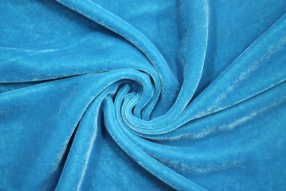 Tissu Velours Velvet Uni Turquoise clair -Coupon de 3 mètres