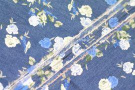 Tissu Chambray imprimé Bouquet Bleu -Au Mètre