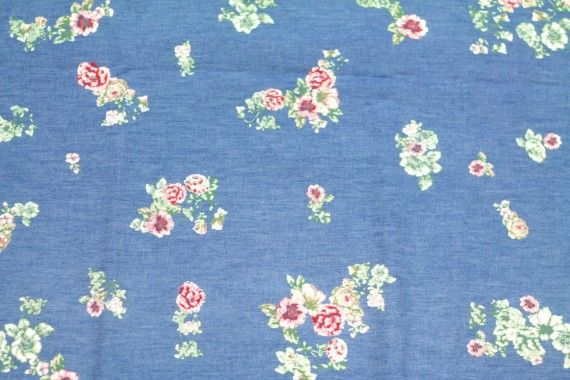 Tissu Chambray imprimé Fleuri Rouge -Au Mètre