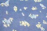 Tissu Chambray imprimé Fleuri Bleu -Au Mètre