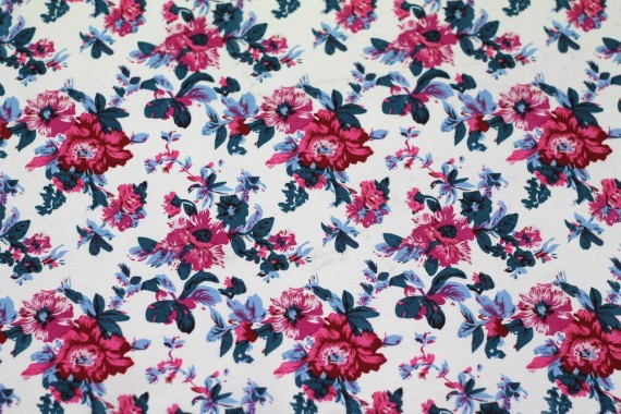 Tissu Crêpe Polyester Printanier Fuchsia -Au Mètre