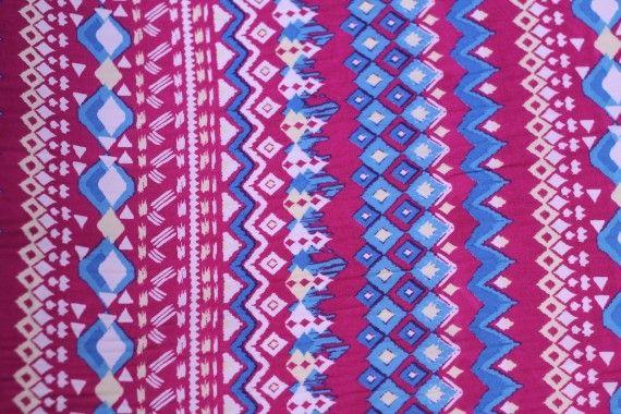 Tissu Crêpe Polyester  Géométrique Fuchsia  -Au Mètre