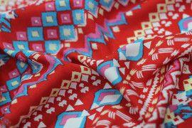 Tissu Crêpe Polyester  Géométrique Rouge  -Au Mètre
