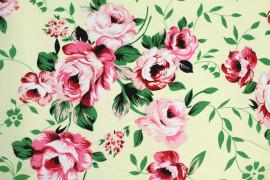 Tissu Crêpe Polyester  Fleur  Rose  -Au Mètre