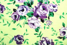 Tissu Crêpe Polyester  Fleur  Violet -Au Mètre