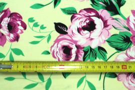 Tissu Crêpe Polyester  Fleur  Fuchsia -Au Mètre