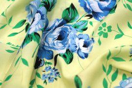 Tissu Crêpe Polyester  Fleur  Bleu -Au Mètre
