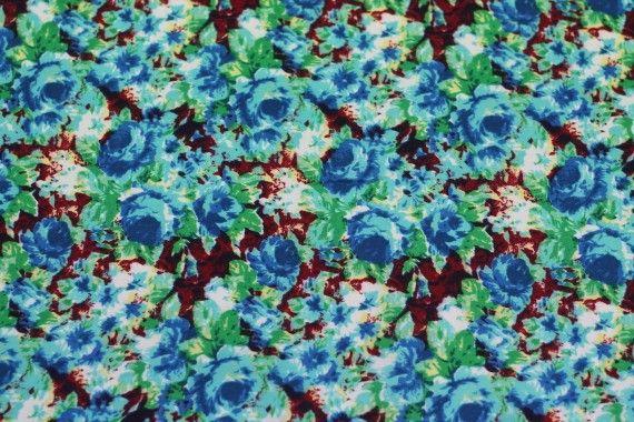 Tissu Crêpe Polyester    Peinture Turquoise -Au Mètre