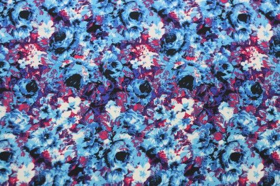 Tissu Crêpe Polyester    Peinture  Bleu  -Au Mètre
