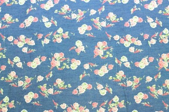 Tissu Chambray imprimé Bouquet Rouge -Au Mètre
