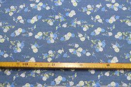 Tissu Chambray imprimé Bouquet Bleu -Coupon de 3m