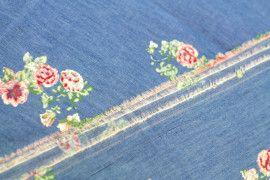 Tissu Chambray imprimé Fleuri Rouge -Coupon de 3m