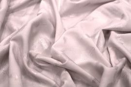 Tissu Voile de Viscose Nude Plume Argent -Au Mètre