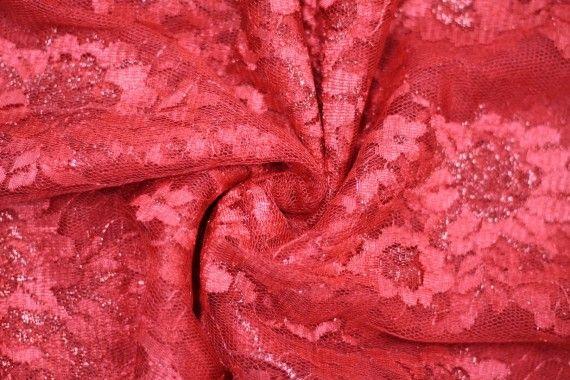 Tissu Dentelle Lurex Rouge -Au Mètre
