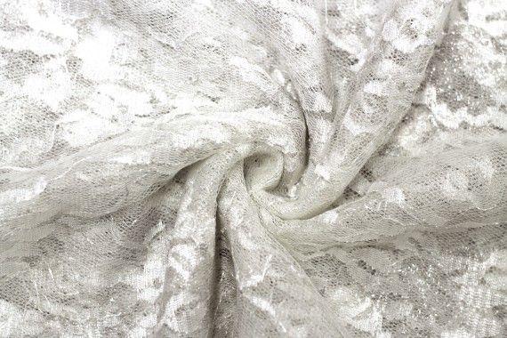 Tissu Dentelle Lurex Blanc cassé -Au Mètre