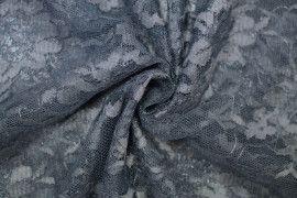Tissu Dentelle Lurex Gris fonce -Coupon de 3 Metres