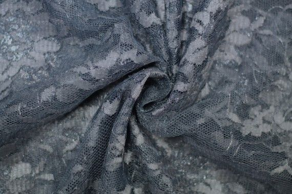 Tissu Dentelle Lurex Gris foncé -Coupon de 3 mètres