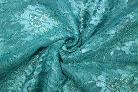 Tissu Dentelle Lurex Bleu tiffany -Coupon de 3 mètres