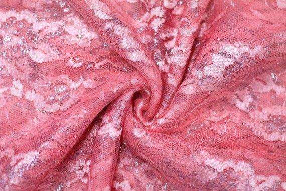 Tissu Dentelle Lurex Corail -Coupon de 3 mètres