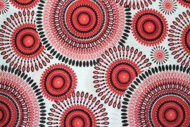 Tissu Viscose Imprimée Cercle Rouge -Au Mètre