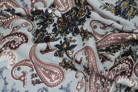 Tissu Viscose Imprimée Cachemire Vintage Gris -Au Mètre