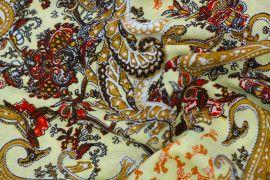 Tissu Viscose Imprimée Cachemire Vintage Beige -Au Mètre
