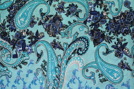 Tissu Viscose Imprimée Cachemire Vintage Turquoise -Au Mètre