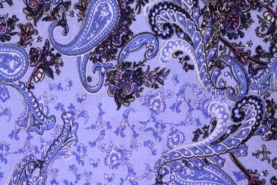 Tissu Viscose Imprimée Cachemire Vintage Bleu -Au Mètre