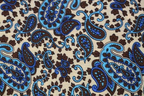 Tissu Viscose Imprimée Paisley Turquoise -Au Mètre