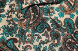 Tissu Viscose Imprimée Paisley Emeraude -Au Mètre