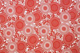 Tissu Viscose Imprimée Rosace Rouge -Au Mètre