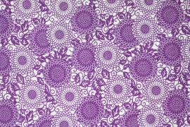 Tissu Viscose Imprimée Rosace Violet -Au Mètre