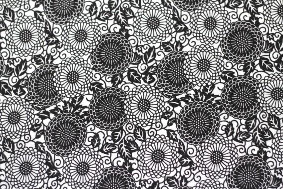 Tissu Viscose Imprimée Rosace Noir -Au Mètre