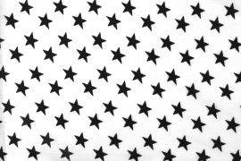 Tissu Viscose Imprimée Étoile Blanc/Noir -Au Mètre