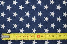Tissu Viscose Imprimée Étoile Marine/Blanc -Au Mètre