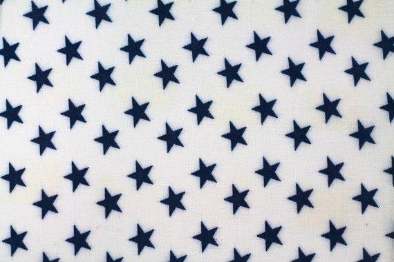 Tissu Viscose Imprimée Étoile Blanc/Marine -Au Mètre