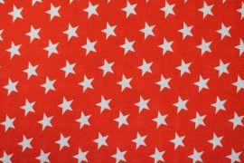 Tissu Viscose Imprimée Étoile Rouge/Blanc -Au Mètre