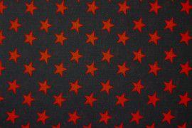 Tissu Viscose Imprimée Étoile Noir/Rouge -Au Mètre